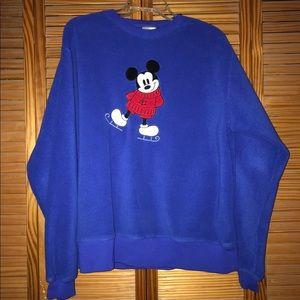 Disney Skating Mickey Mouse Blue Fuzzy Sweatshirt